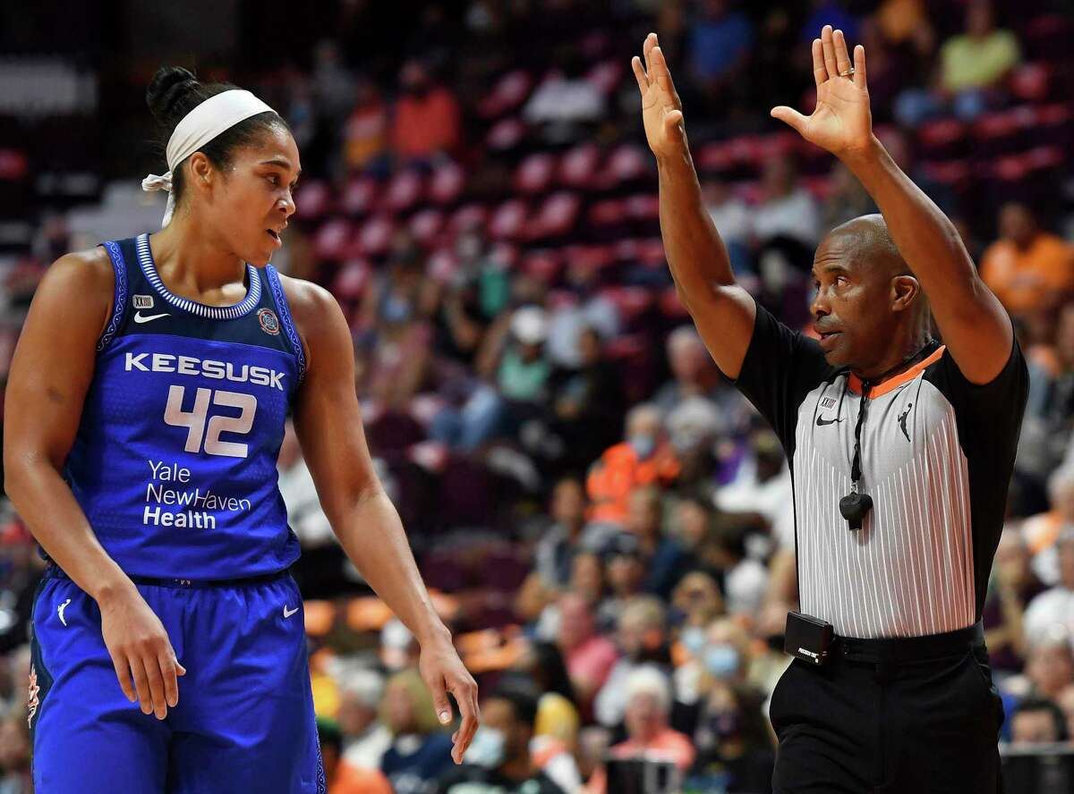 Connecticut Sun center Brionna Jones argues a call with official Eric Brewton during the team's WNBA basketball game against the New York Liberty on Wednesday, Sept. 15, 2021, in Uncasville, Conn. (Sean D. Elliot/The Day via AP)