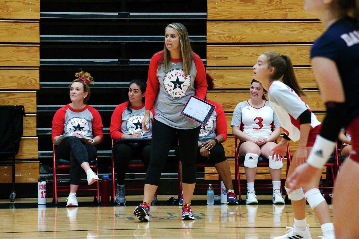 Dawson volleyball coach Lauren Leth, who recently earned her 300th career win, watched the Lady Eagles sweep Shadow Creek Wednesday night in an important District 23-6A volleyball match.