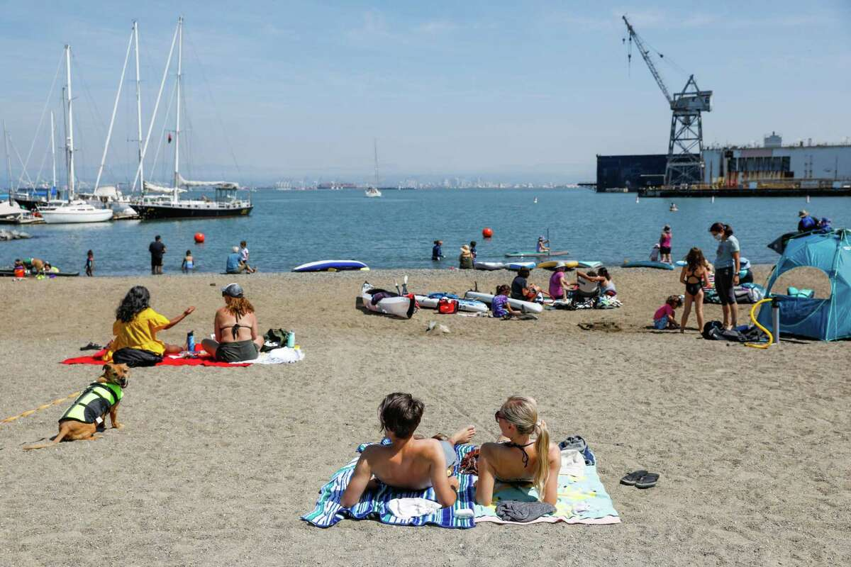 Beachgoers enjoy Crane Cove Park in San Francisco on Sept. 6. Air quality in the Bay Area has been better so far this fire season than last.
