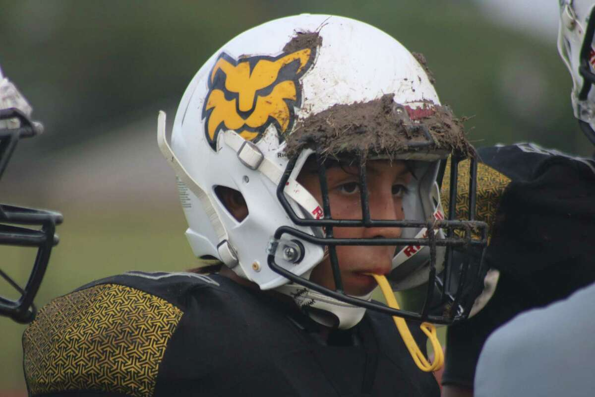 A Bonnette player wears a little bit of Bobcats Field on his helmet during Wednesday's action.