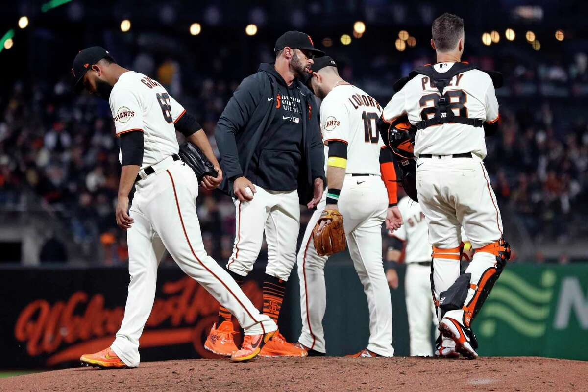 San Francisco Giants' manager Gabe Kapler removes reliever Jarlin Garcia in 2nd inning against San Diego Padres during MLB game at Oracle Park in San Francisco, Calif., on Wednesday, September 15, 2021.