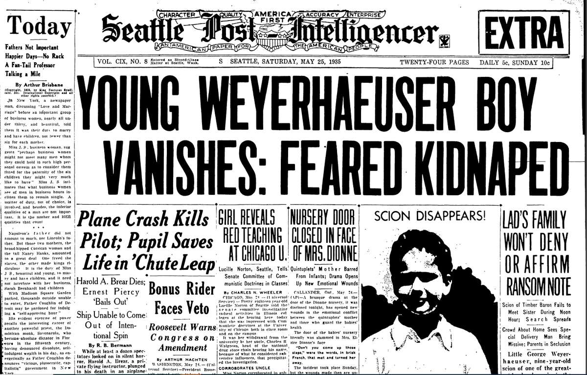 The headline of the Seattle Post-Intelligencer on May 25, 1935, the day after George Weyerhaeuser was kidnapped.