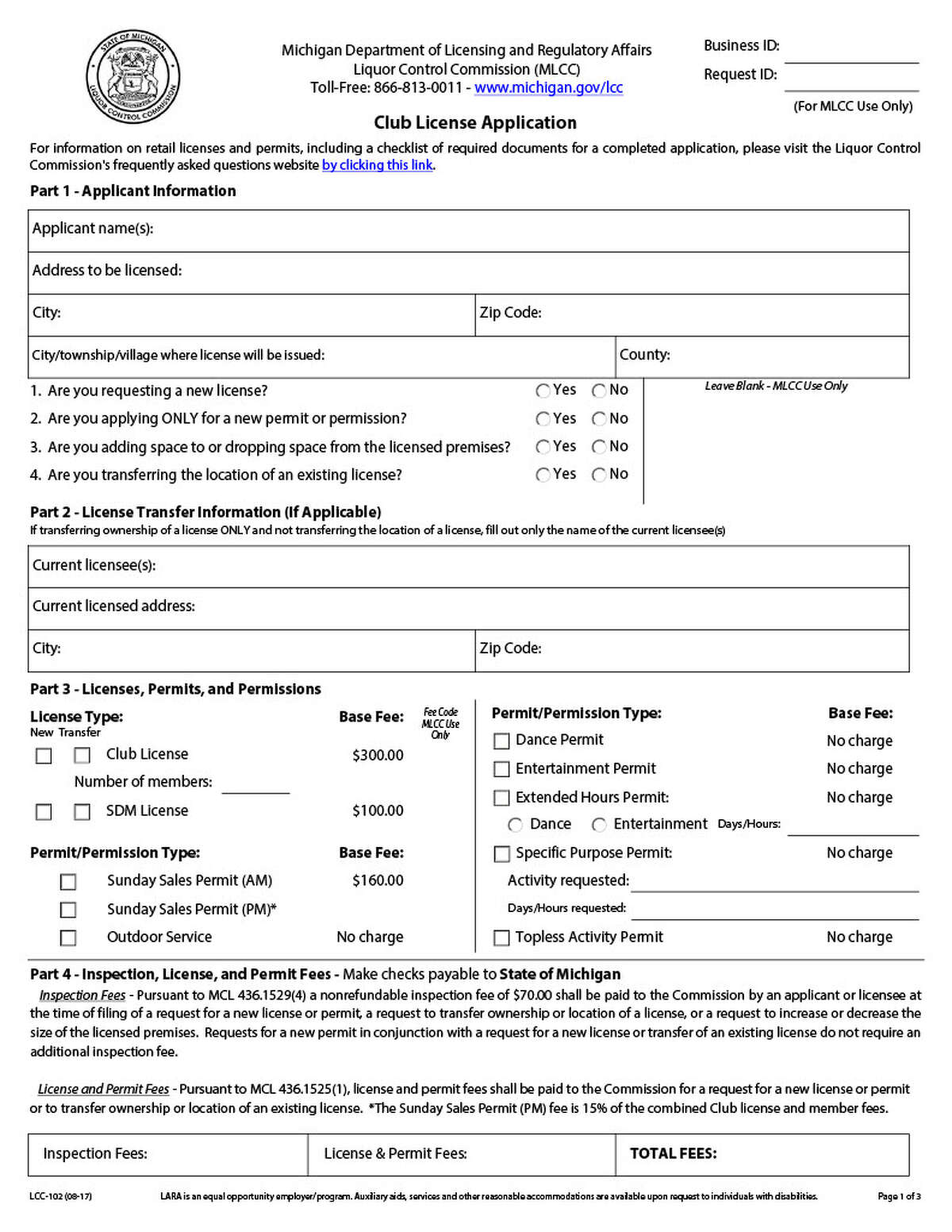 Paperwork filed by Kari Warren Holdings, LLC to transfer ownership of a liquor license, also included requests for other permits.