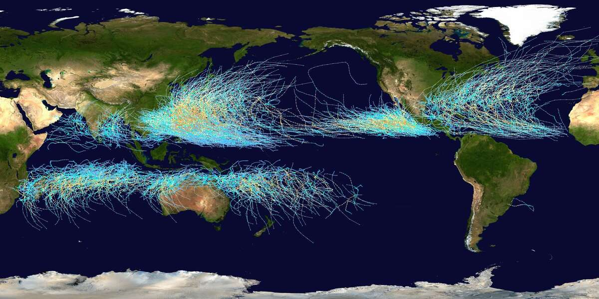 This image shows the path of all major cyclones -- they're called hurricanes in the Atlantic Ocean and typhoons in the Pacific Ocean -- from 1985 through 2005. Image Credit: National Hurricane Center, NOAA, NASA; Processing: Nilfanion (via Wikipedia)