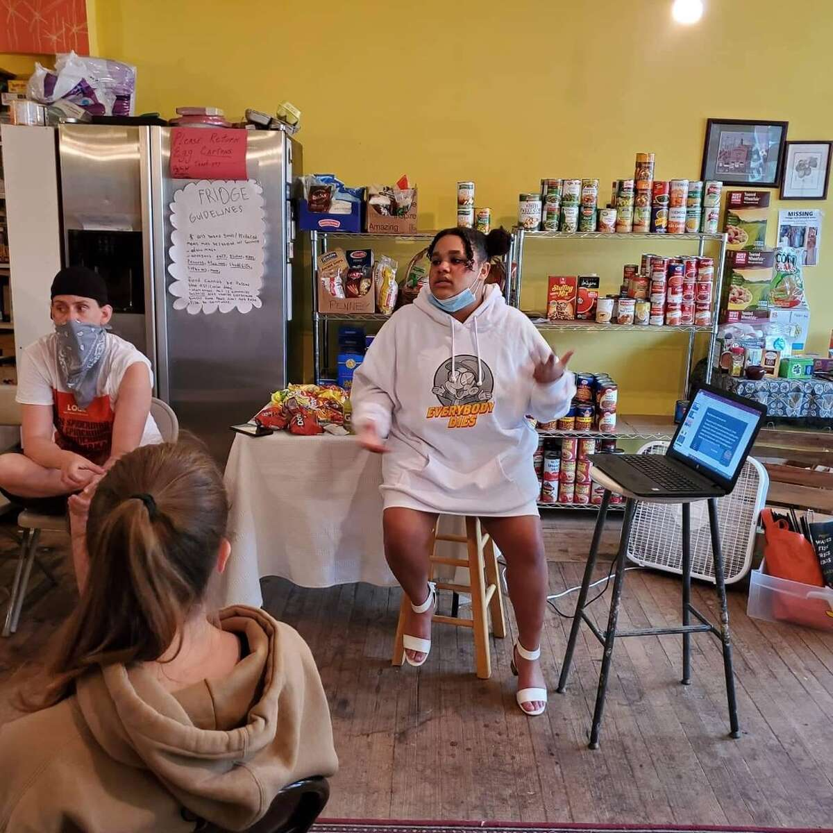 Ten teenagers in Greene and Columbia counties were certified as youth peer leaders as one tool in the local fight to combat the ongoing opioid epidemic. Ayesha Jones, a youth peer leader, here conducts a Naloxone training at the Philmont Free Store.