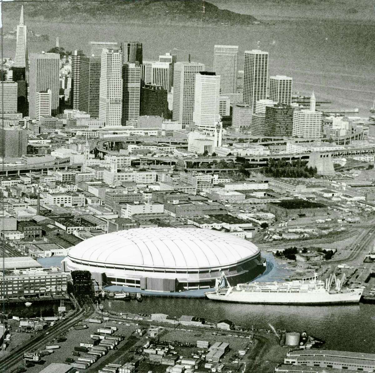 """An """"artist's conception"""" of a proposed domed stadium at China Basin. Dec. 20, 1982."""