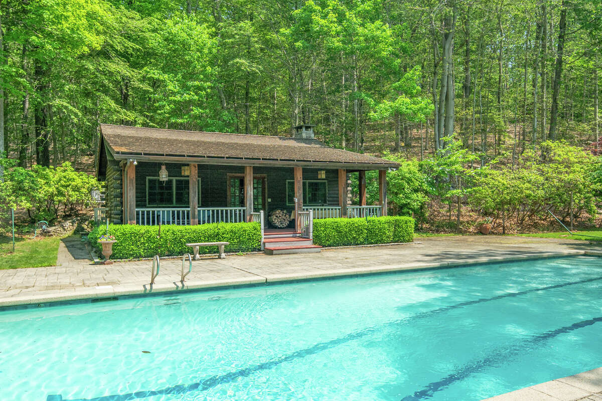 The pool house on 1021 Rock Rimmon Road in Stamford, Conn., which sits just behind the saltwater pool on the property.