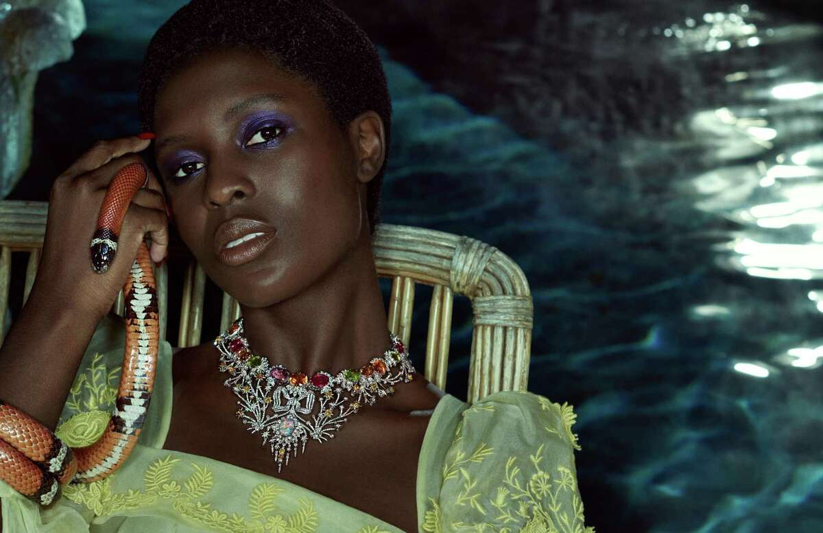 """Necklace in white gold with diamonds, opal, topaz, rubellites, peridots, citrines, mandarin garnet and tourmalines from """"Hortus Deliciarum"""" the new Gucci high jewelry collection."""