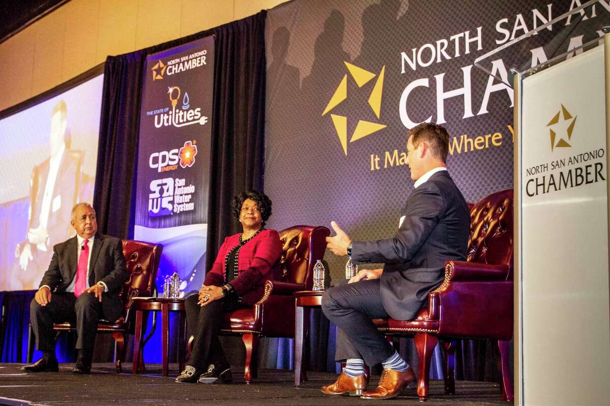 """Robert Puente and Paula Gold-Williams, the top executives for city-owned SAWS and CPS Energy, discuss their preparation for winter and other utility issues with Mark Medici, publisher of the San Antonio Express-News. The conversation was at a """"utility summit"""" this week."""