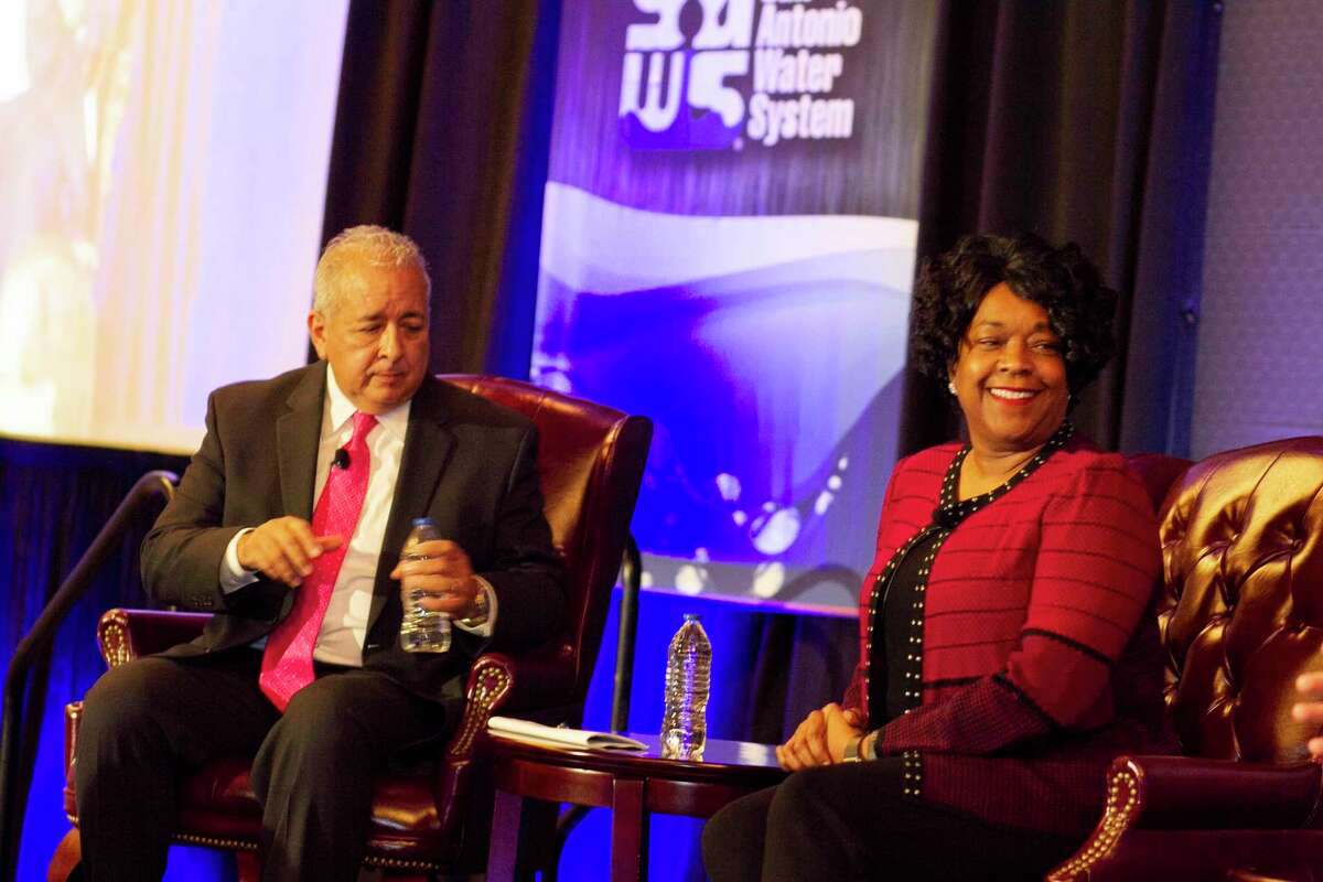 Robert Puente and Paula Gold-Williams, the top executives for city-owned SAWS and CPS Energy, discussed their preparation for winter and other utility issues at a forum organized by the North San Antonio Chamber of Commerce.