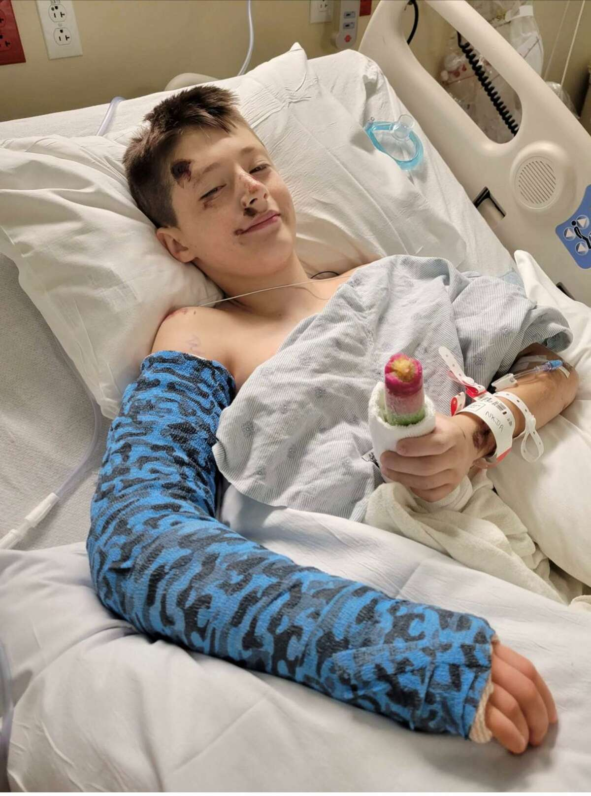 Levi Brizuela, a Bear Branch Junior High sixth grader in Magnolia. He was hospitalized Sunday after being struck by a car at the intersection of Community Road and Mostyn Drive.