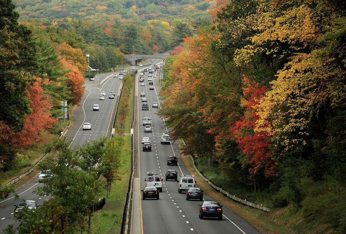 The Merritt Parkway looking north from the Morehouse Highway bridge in Fairfield, Conn.