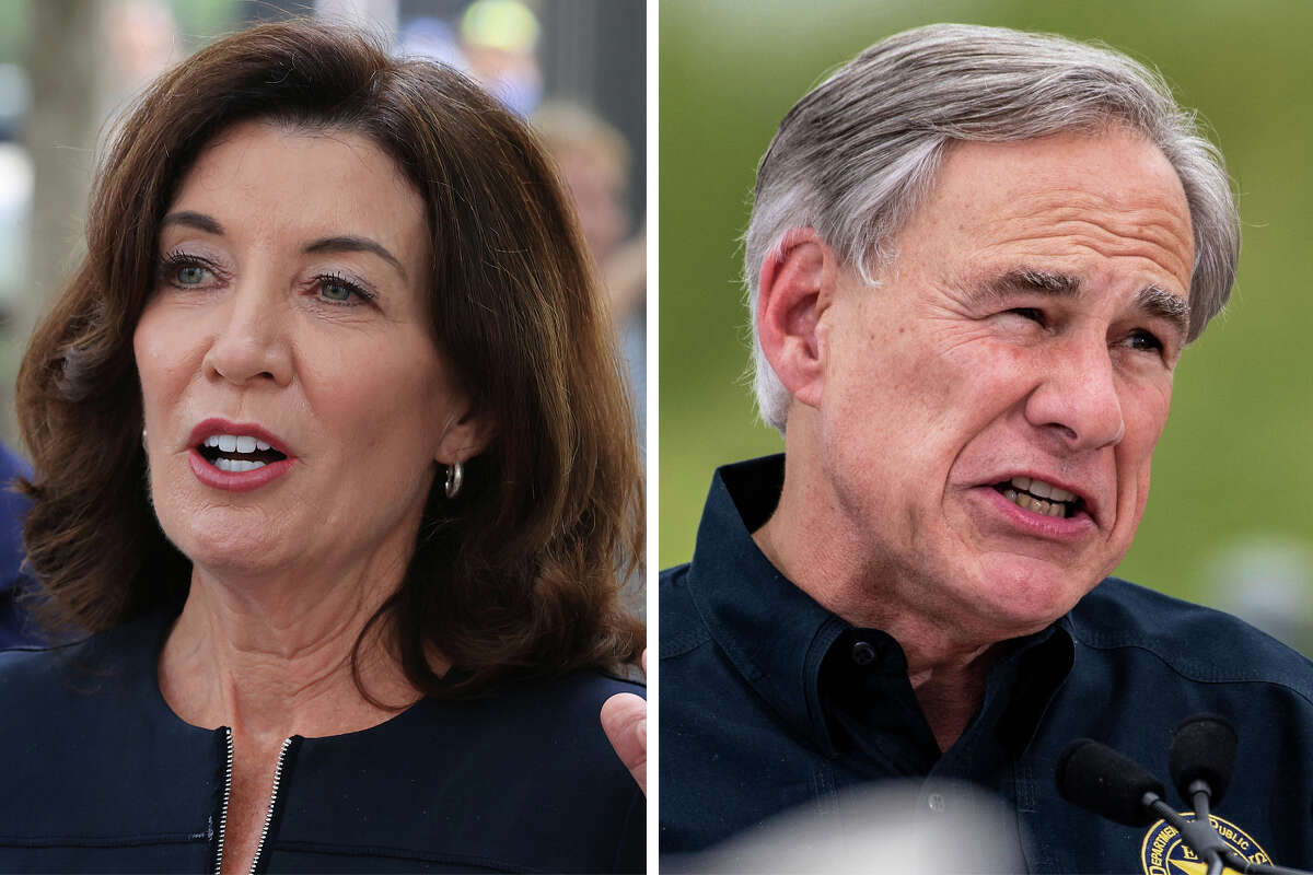 New York Gov. Kathy Hochul (left) and Gov. Greg Abbott (right) are pictured together in this composite image.