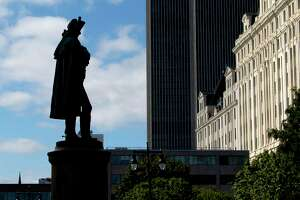 The statue of Gen. Philip Schuyler is displayed in front of Albany City Hall on Thursday, Sept. 16, 2021 in Albany, N.Y.
