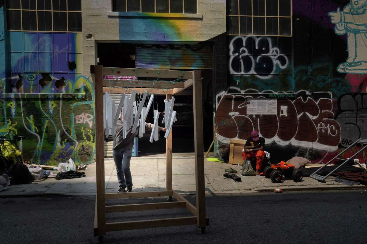 The exterior of Formr's workshop in San Francisco on Aug. 6, 2021. Formr hires formerly incarcerated people to produce the pieces from formerly used (repurposed) wood.