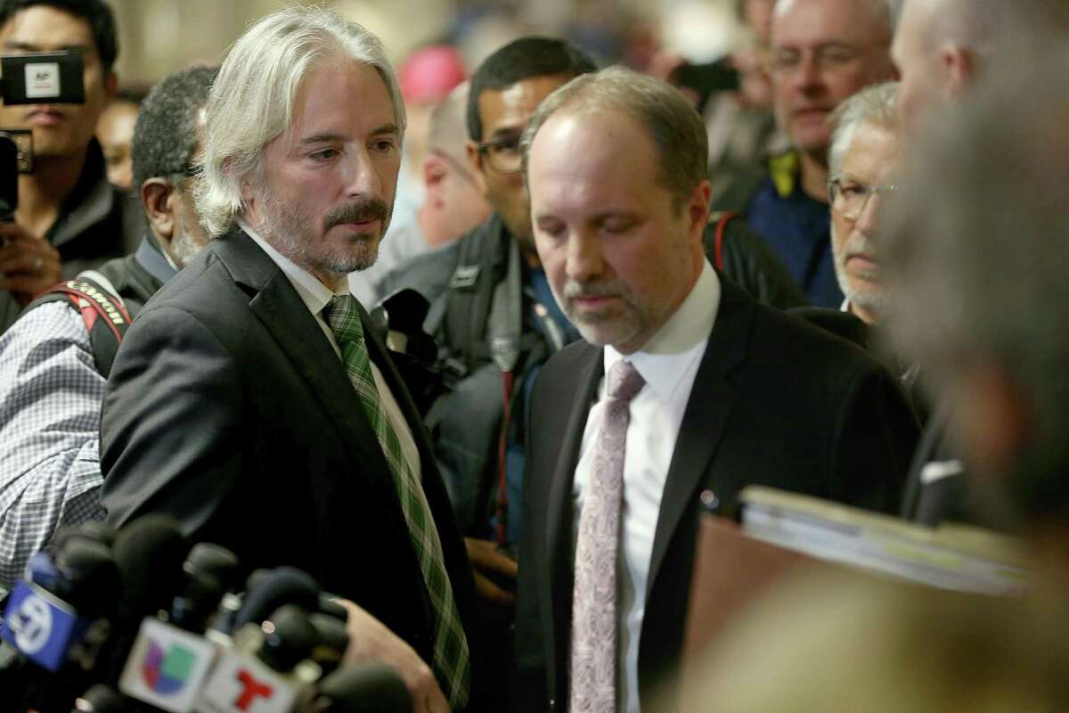 Defense attorney Matt Gonzalez (left) and Francisco Ugarte (right) comment after the jury on the Kate Steinle murder trial found Jose Ines Garcia Zarate not guilty of homicide charges on in San Francisco, Calif. The attorneys are now urging the Biden administration to release Zarate, arguing that his incarceration is politically motivated, not a matter of criminal justice.