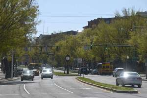 Main Street at White Street in downtown Danbury. Friday, April 23, 2021,