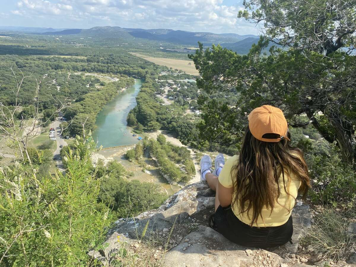 Taking in the stunning views at the top of Old Baldy Trail at Garner State Park.