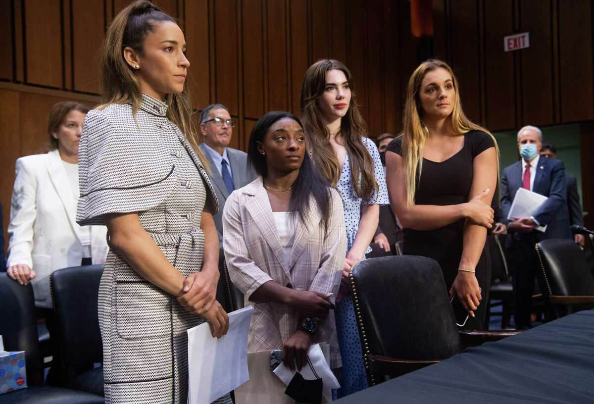 *** BESTPIX *** WASHINGTON, DC - SEPTEMBER 15: U.S. Olympic gymnasts Aly Raisman, Simone Biles, McKayla Maroney and NCAA and world champion gymnast Maggie Nichols leave after testifying during a Senate Judiciary hearing about the Inspector General's report on the FBI handling of the Larry Nassar investigation of sexual abuse of U.S. gymnasts, on Capitol Hill, September 15, 2021 in Washington, DC. (Photo by Saul Loeb - Pool/Getty Images)