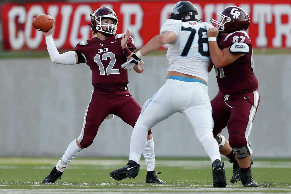 Cinco Ranch quarterback Gavin Rutherford (12) is expected to present problems for the Clear Falls defense on Friday.