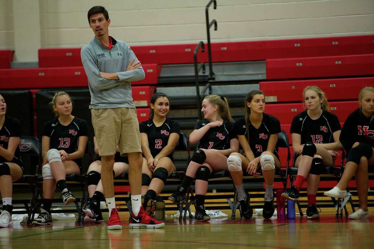 New Canaan girls volleyball coach Kevin Marino during his first year with the Rams in 2017.