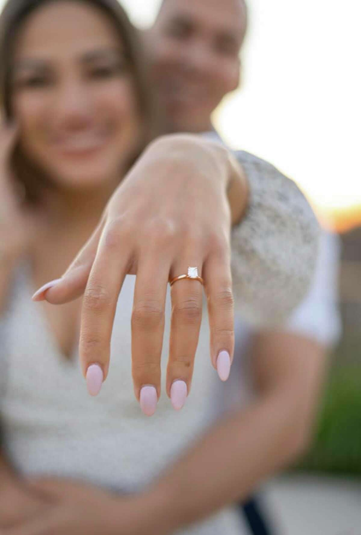 Clarke shares a photo of her engagement ring.