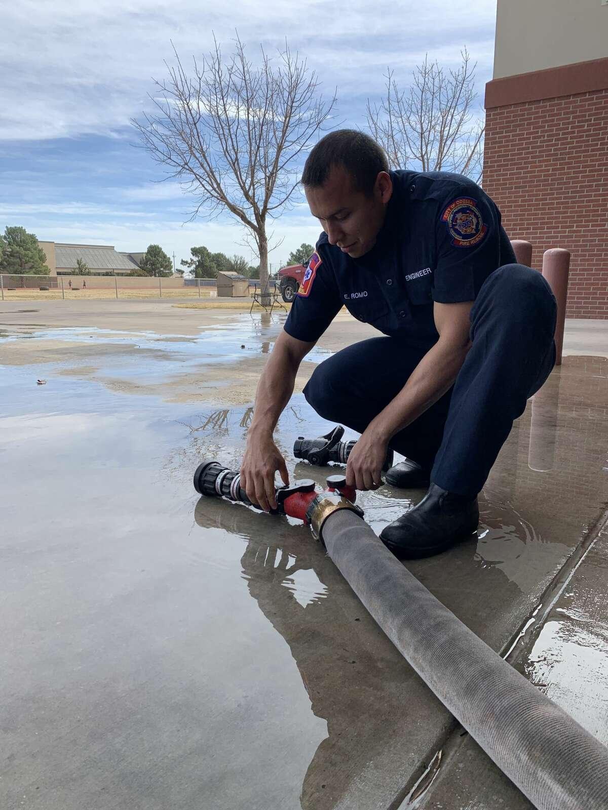Clarke's fiancé on firefighter duty.