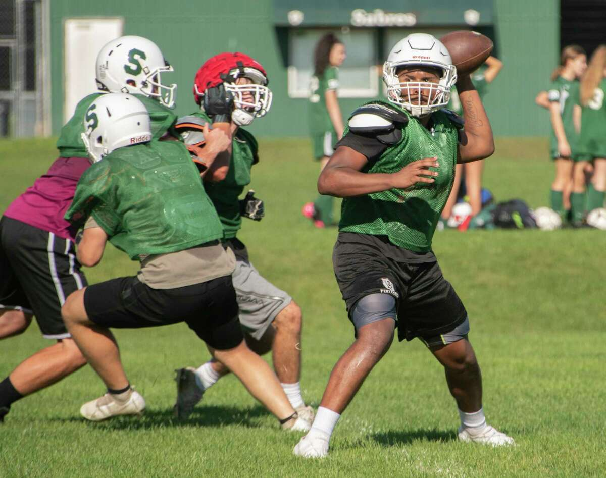 Schalmont quarterback Sean Willis throws the football during practice with the team on Thursday, Sept. 16, 2021 in Rotterdam, N.Y.