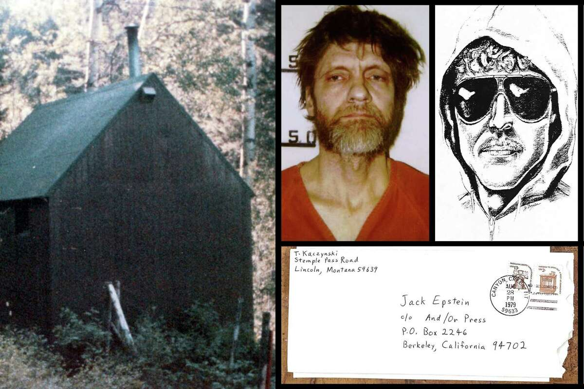 A collage of images including Ted Kaczynski's Montana cabin, his mugshot, a sketch of the Unabomber suspect released by the FBI and a letter addressed to Jack Epstein from Kaczynski.