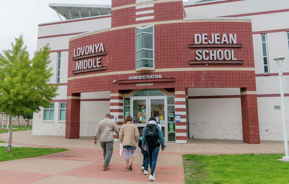 DeJean Middle School in Richmond is one of the schools that would require students and staff to get vaccinated under a proposal being considered by West Contra Costa Unified.