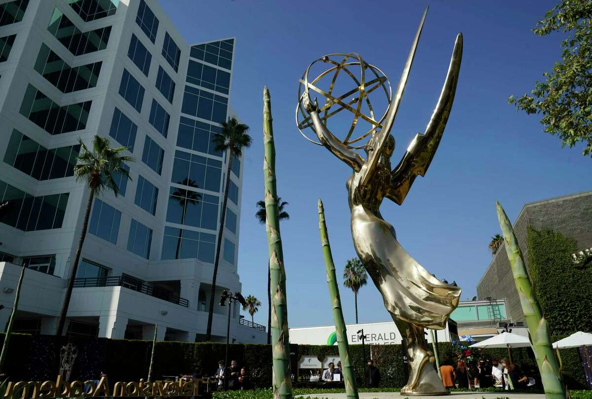 An Emmy statue is pictured during Press Preview Day for the 73rd Primetime Emmy Awards, Wednesday, Sept. 14, 2021, at the Television Academy in Los Angeles. The awards show honoring excellence in American television programming will be held on Sunday at the Event Deck at L.A. Live.