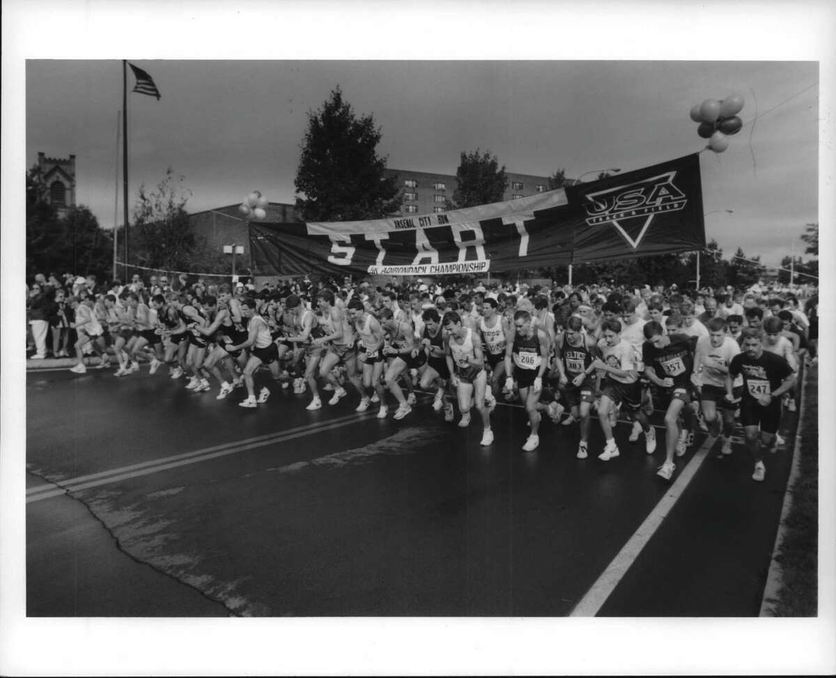 Watervliet's Arsenal City Run will be back on Sunday after a begin canceled in 2020 due to the pandemic. Pictured is Broadway in Watervliet, N.Y. at the start of the 5k of the Arsenal City Run on Sept. 26, 1993.