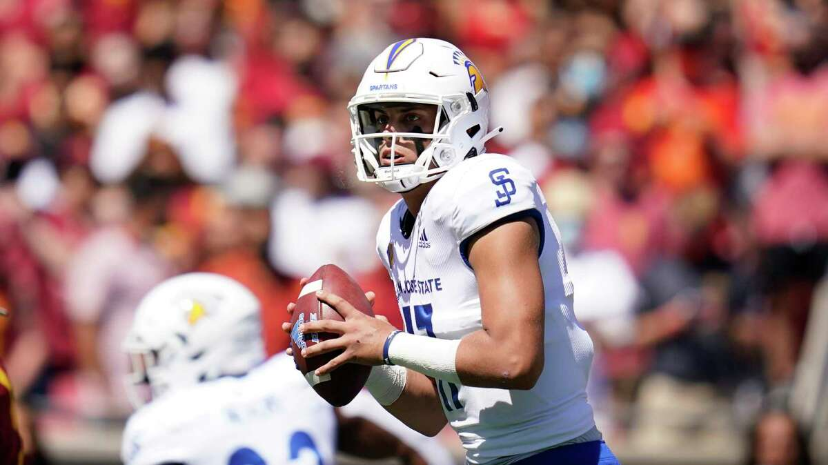 San Jose State quarterback Nick Starkel (17) throws a pass during the first half of an NCAA college football game against Southern California Saturday, Sept. 4, 2021, in Los Angeles. (AP Photo/Ashley Landis)