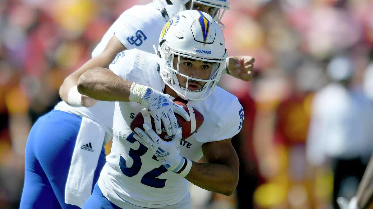 San Jose State Spartans running back Kairee Robinson plays against the USC Trojans during an NCAA football game on Saturday, Sept 4, 2021, in Los Angeles. (AP Photo/John McCoy)