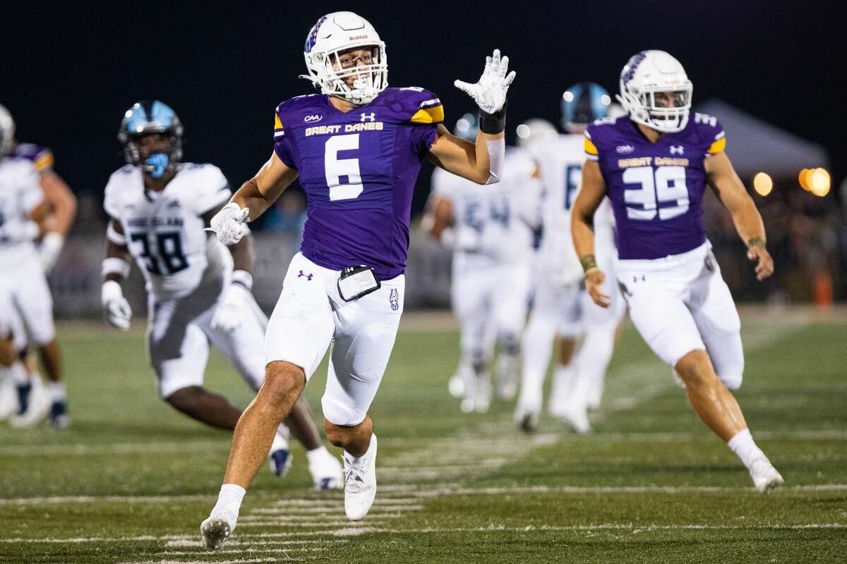 UAlbany's Joe Casale, a Troy High graduate, is growing into his linebacker role and plays on all the Great Danes special teams. (Jay Bendlin/UAlbany athletics)