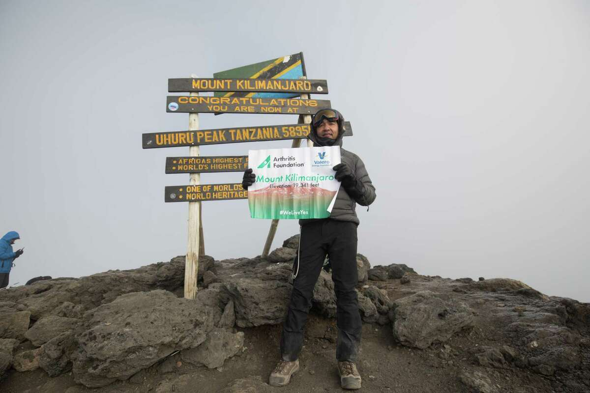 Sachi Arya celebrates his successful climb of Mount Kilimanjaro in Tanzania, known as the Roof of Africa, earlier this year.
