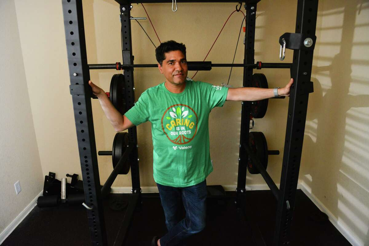 During the pandemic, Sachi Arya turned a room in his home into a workout space, so he could continue building his strength.