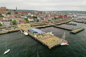 A drone view of the New London pier. U.S. Sen. Chris Murphy said Thursday he his hopeful the Biden administration will approve a National Estuarine Research Reserve in eastern Long Island Sound.