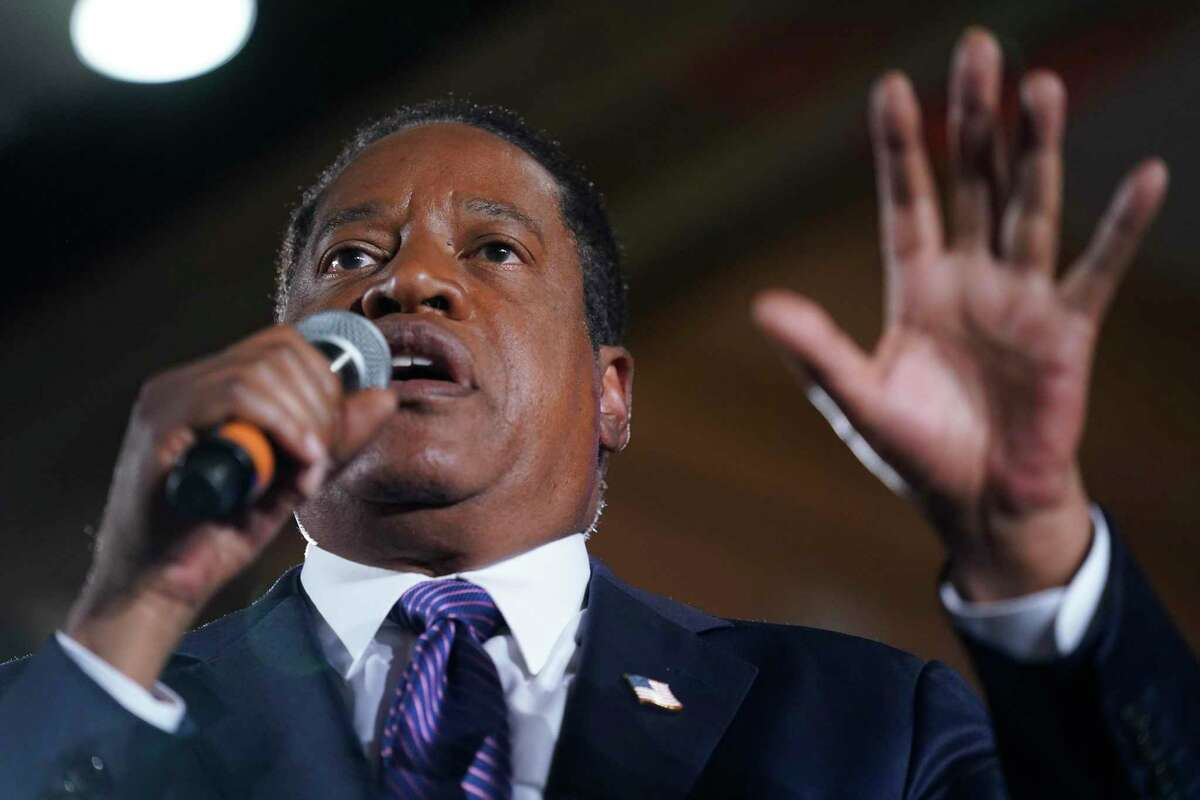 Republican conservative radio show host Larry Elder speaks to supporters after the failure of the California gubernatorial recall on Tuesday, Sept. 14, 2021, in Costa Mesa, Calif. Elder garnered by far the most votes among would-be replacements for Gov. Gavin Newsom.