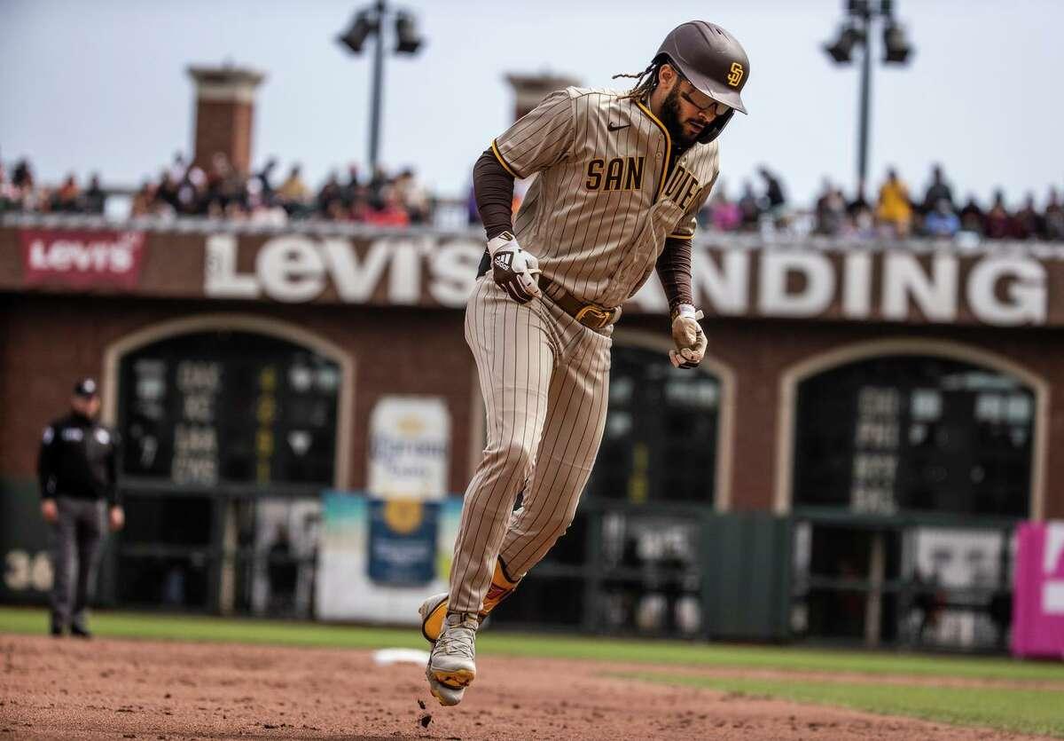 Fernando Tatis Jr. circles the bases after his home run in the third inning off Kevin Gausman. San Diego's shortstop has hit 39 long balls this season despite playing just 114 games.