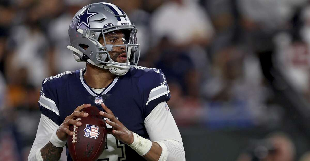 Dallas Cowboys quarterback Dak Prescott (4) during an NFL football game against the Tampa Bay Buccaneers, Thursday, Sept 9, 2021 in Tampa, Fla. (AP Photo/Don Montague)