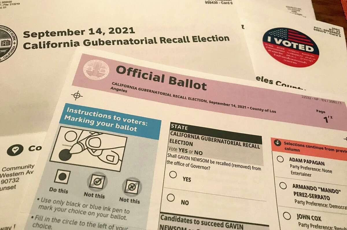 A view of the ballot for the 2021 California gubernatorial recall race.