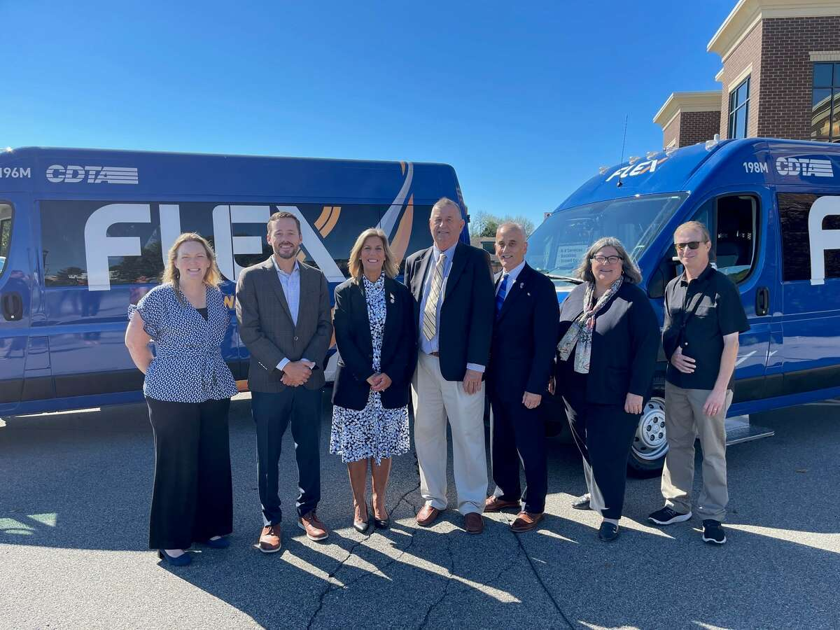 The Capital District Transportation Authority (CDTA) announced on Sept. 16, 2021its expanded Flex service into southern Saratoga County. Pictured from left to right: Megan Quillinan, Mechanicville Area Community Center, Executive Director; Carmine DeCrescente III, VP of DeCrescente Distributing; Senator Daphne Jordan; Tom Richardson, Mechanicville Supervisor; Carm Basile, CDTA CEO; Assemblywoman Carrie Woerner and Todd Shimkus, Saratoga Chamber President.
