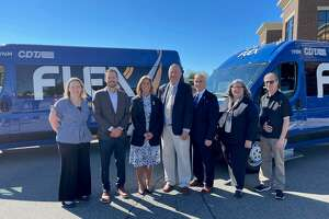 The Capital District Transportation Authority (CDTA) announced its expanded Flex service into southern Saratoga County on Sept. 16, 2021. (people pictured from left to right) Megan Quillinan, Mechanicville Area Community Center, Executive Director, Carmine DeCrescente III, VP of DeCrescente Distributing, Senator Daphne Jordan, Tom Richardson, Town of Mechanicville Supervisor, Carm Basile, CDTA CEO, Assemblywoman Carrie Woerner and Todd Shimkus, Saratoga Chamber President.
