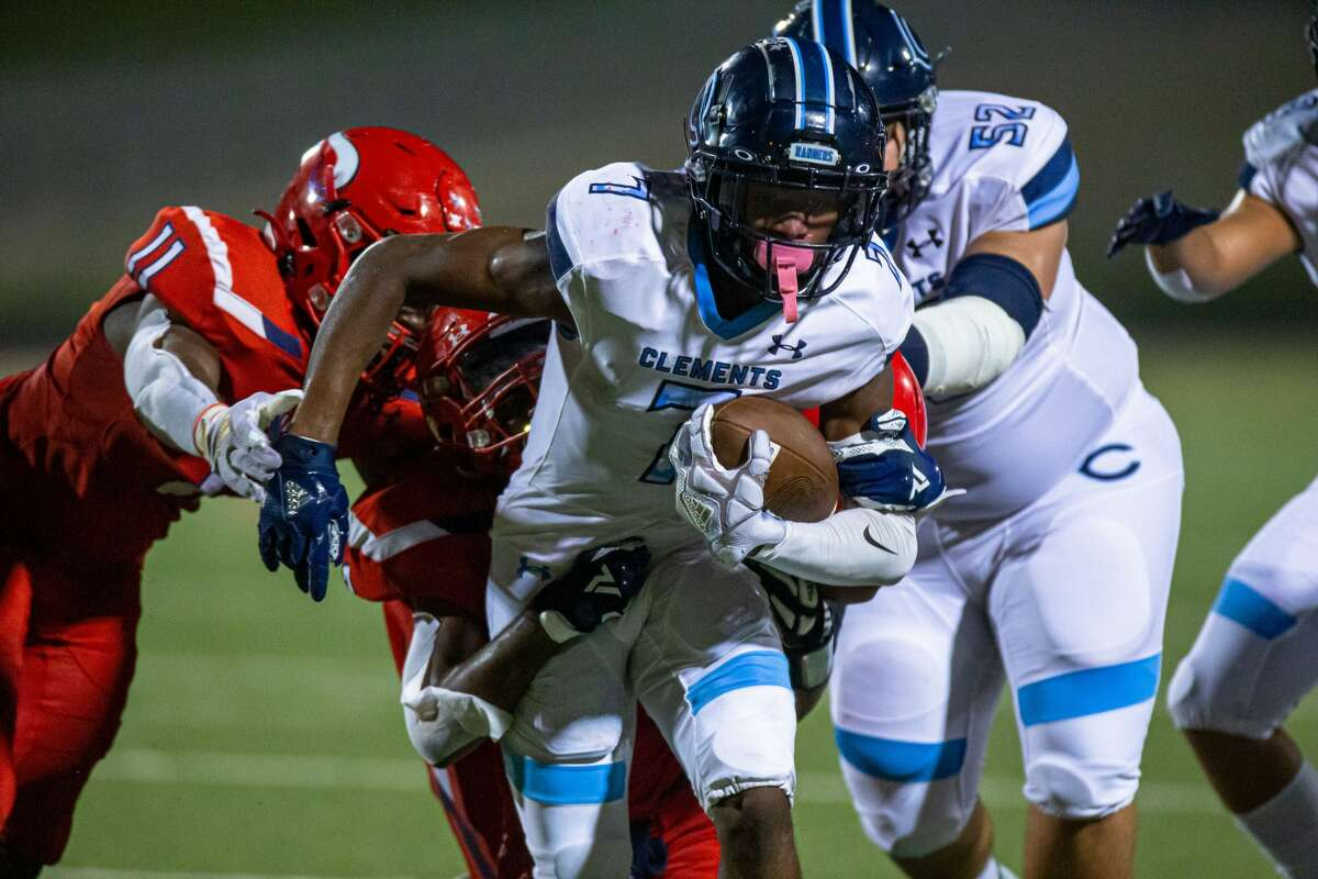 Clements Rangers WR Patrick Smith (7) rushed for a first down during the second half of action between Dulles Vikings vs. Clements Rangers during a high school football game at the Hall Stadium, Thursday, September 16, 2021, in Missouri City. Clements Rangers defeated Dulles Vikings 19-13. (Juan DeLeon/Contributor)