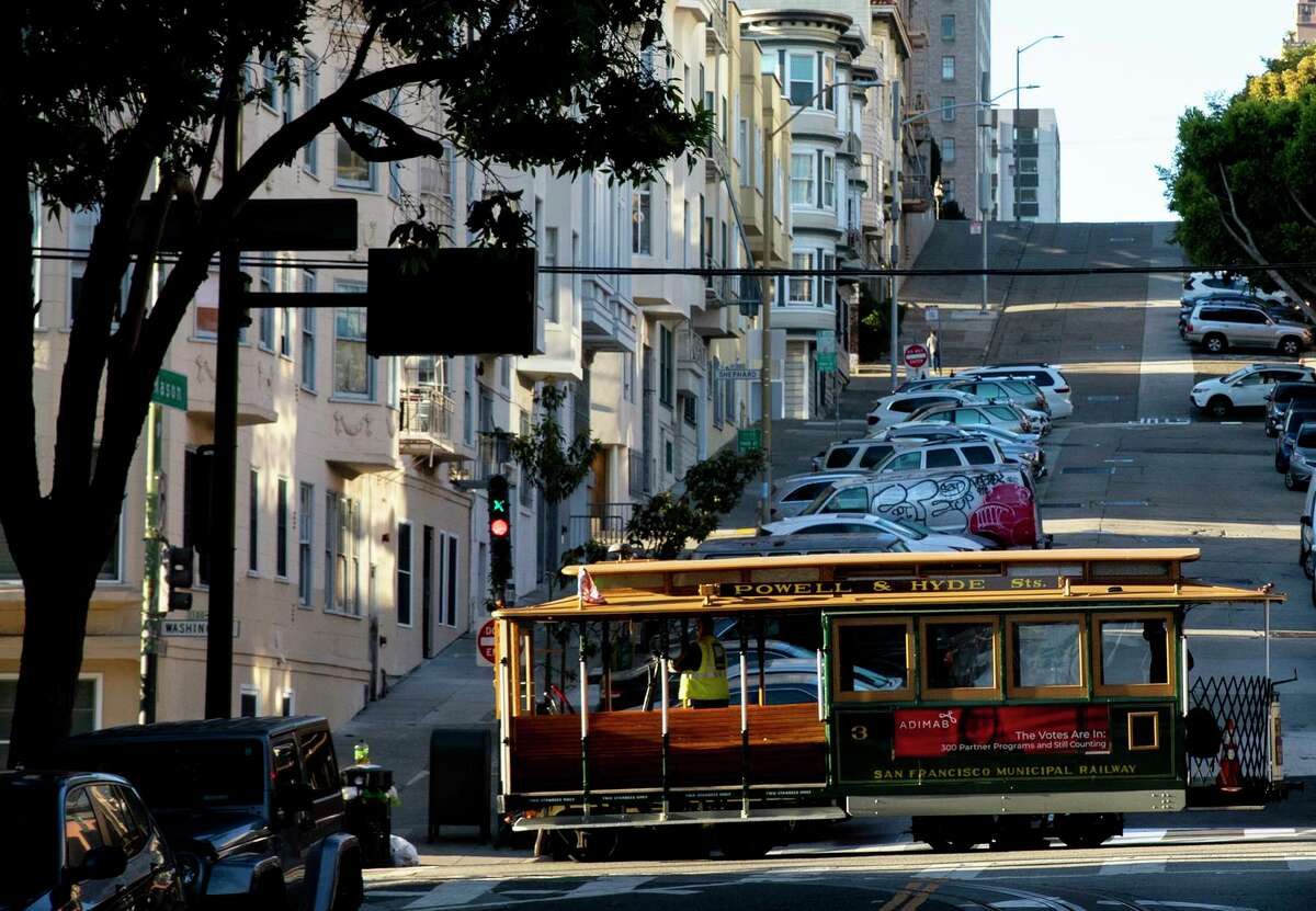 A cable car leaves the car barn at Mason and Powell street to pick up riders on August 2, 2021.