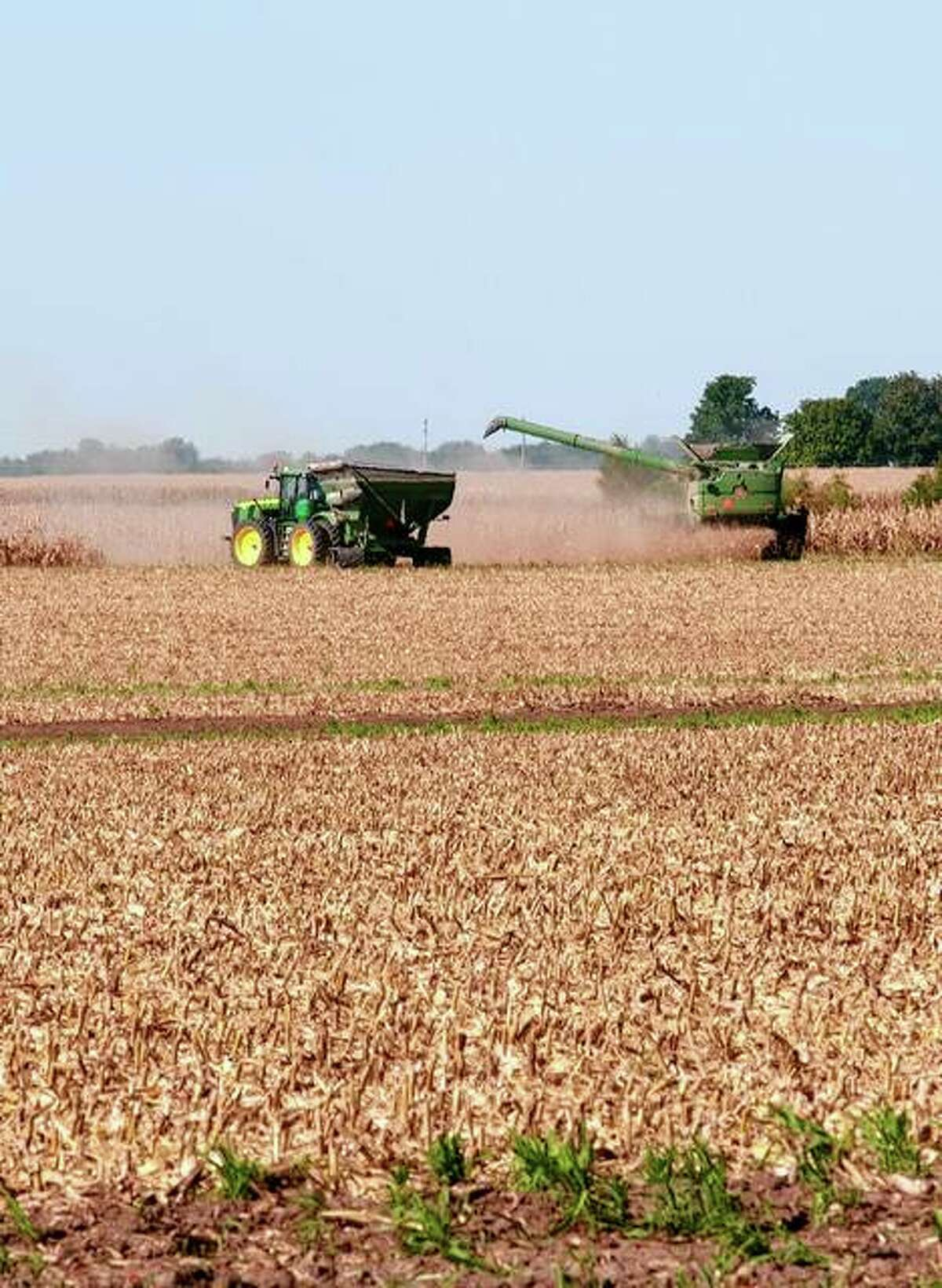 Farmers harvest crops Thursday in a field along Old Jacksonville Road. Police caution drivers to be aware that this is a time of year when farm equipment is traveling on roads and, as a matter of safety for everyone, should be given plenty of room.