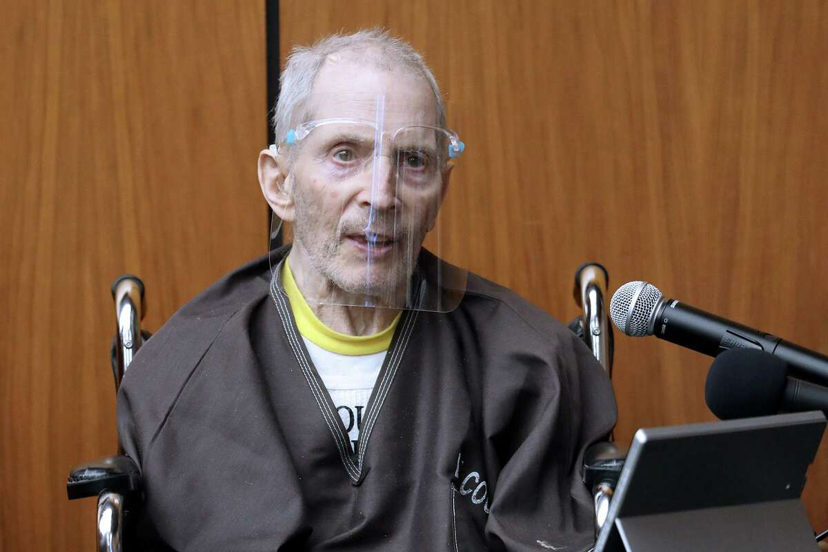 Robert Durst, 78, takes the stand and testifies in his murder trial answering questions from his defense attorney at the Inglewood Courthouse on Aug. 9, 2021, in Inglewood, Calif.
