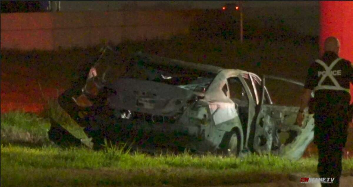 A woman died from her injuries sustained in a southeast Houston crash early Friday morning in which she appears to have missed or misguaged her exit and hit a pillar, which ended up with her vehicle catching fire, according to authorities.
