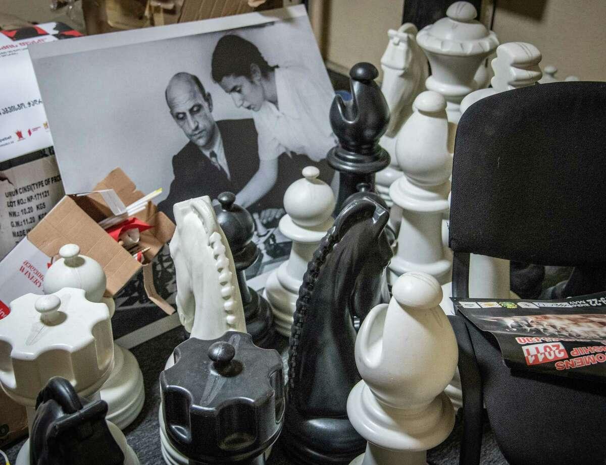 December 8, 2020, Tbilisi, Georgia: Interior of The Tbilisi Chess Palace and the Alpine Club, with historical photo of Nona Gaprindashvili.